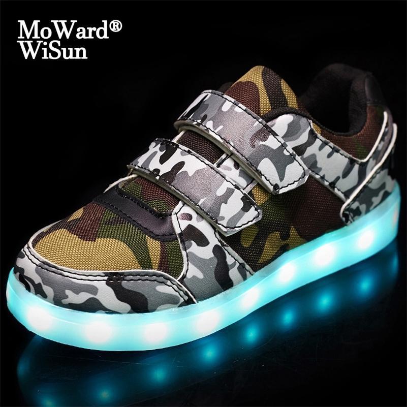 사이즈 25-37 어린이 소년 소녀를위한 신발을였습니다. USB 충전기 Schoenen 키즈 chaussure enfant 빛나는 빛나는 빛나는 운동화 빛 솔 lj201202