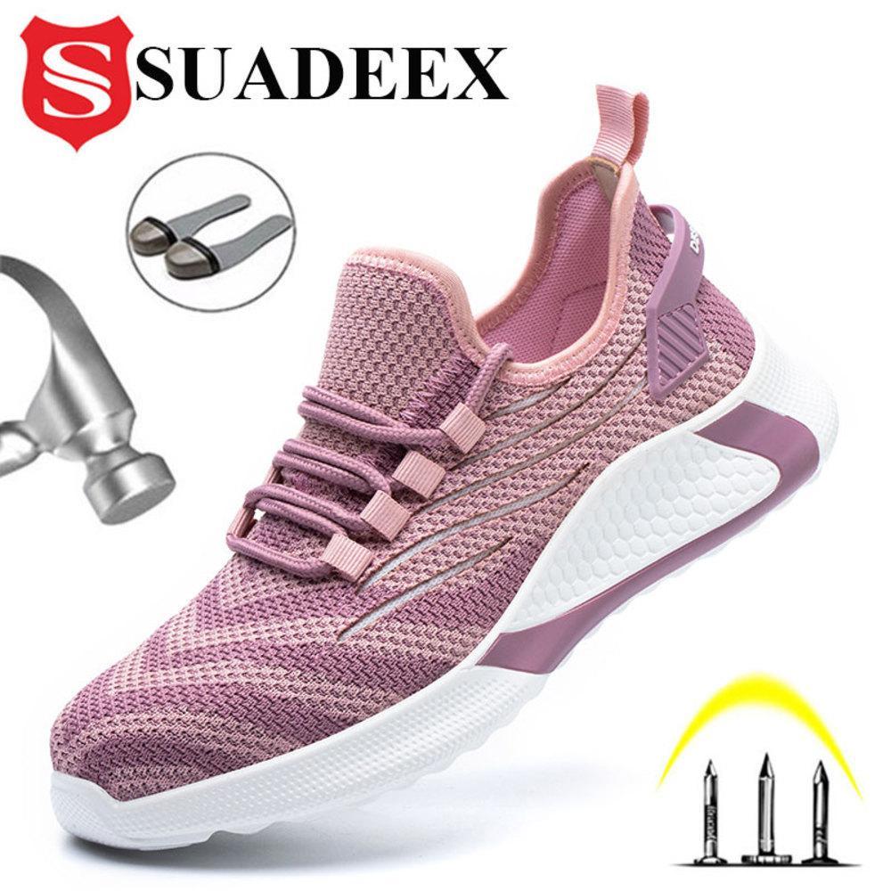Suadeex Все сезона Мужчины Женщины Безопасность Обувь против разбивающей Стальной ТОЭ Крышки Ботинки Строительство Безопасность Работа Обувь Обувь