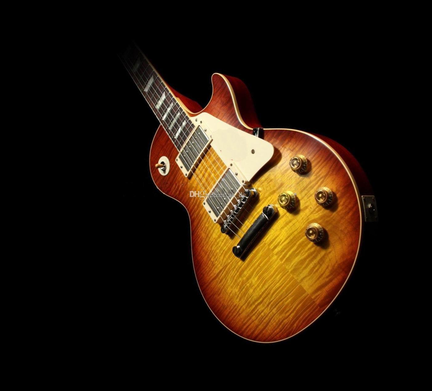 ¡En stock! 1959 R9 Vos Tobacco Sunburst Jimmy Página No. 1 Guitarra eléctrica Tiger Fame Maple Top, crema PickGuard, Crema Body Binding