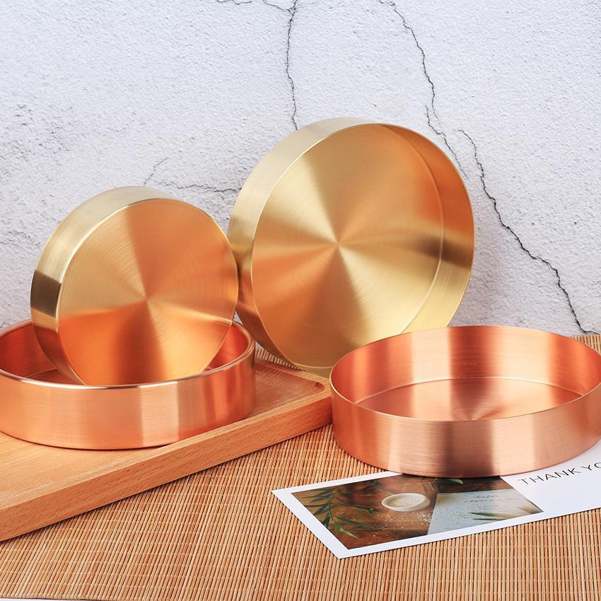 Северный медный круглый металлический латунный розовый золотой орнамент лоток для хранения