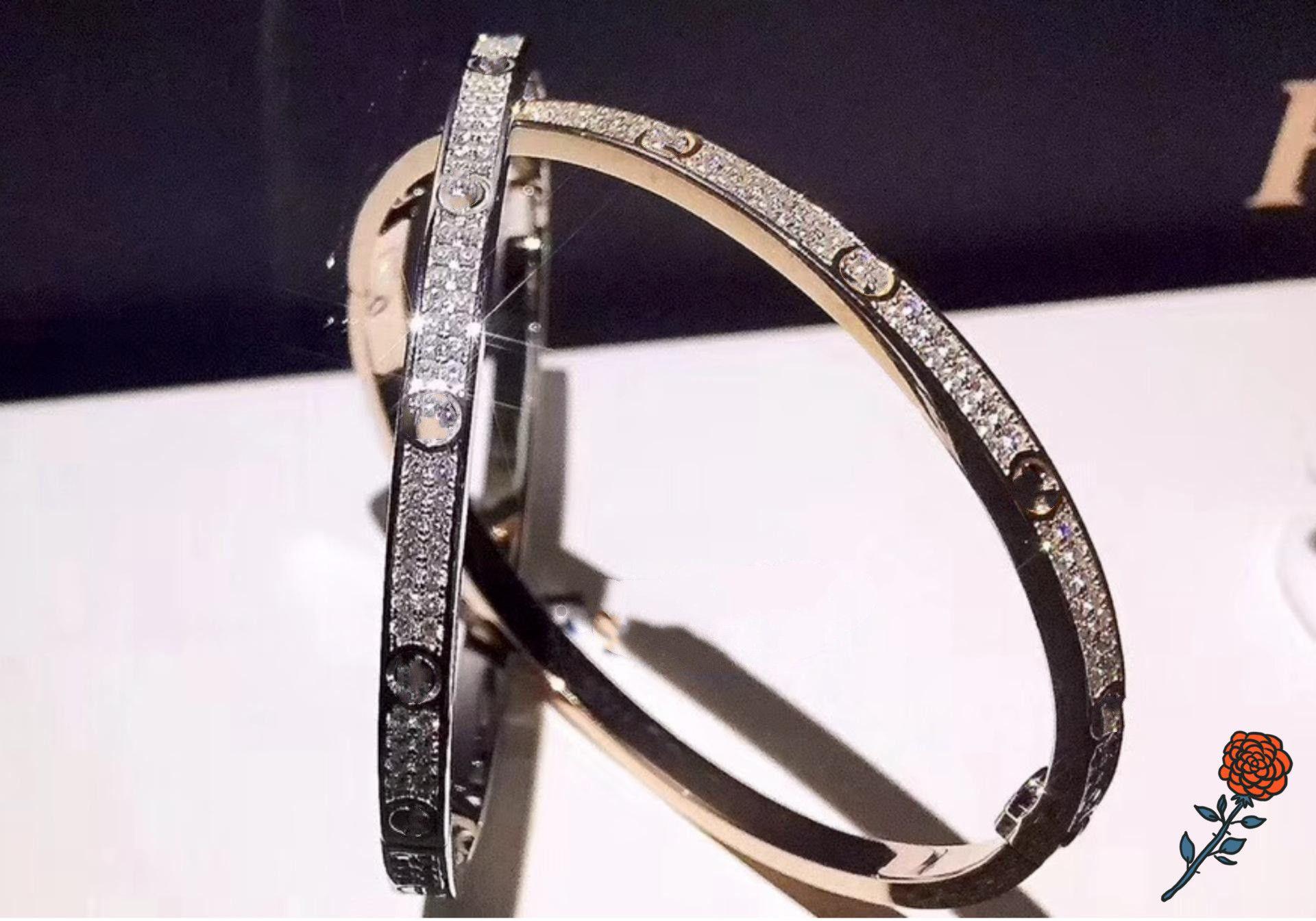 Année de luxe en acier inoxydable gypsophila bracelier étroit breloque charme blanc or rose double diamant double rangée diamants