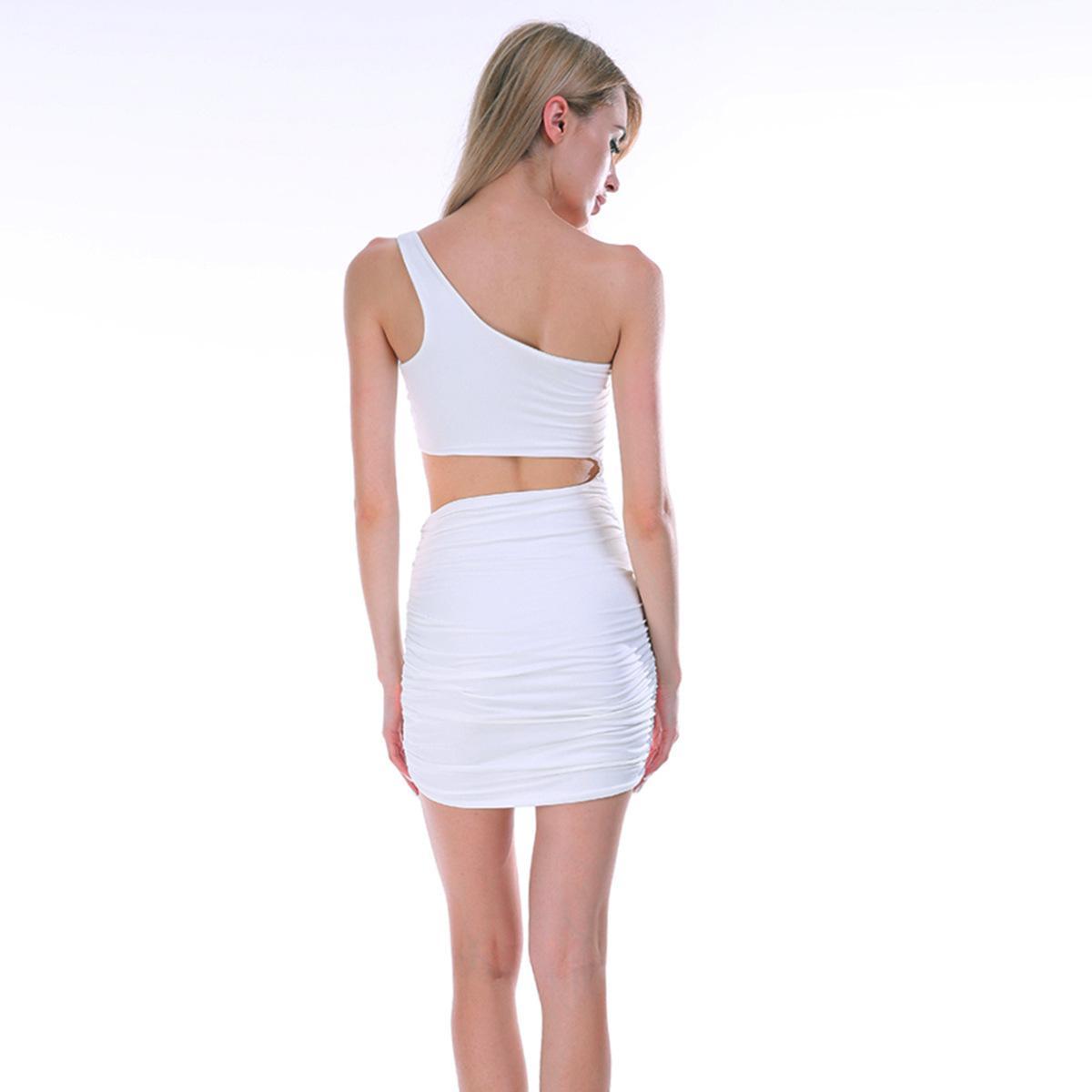 Женская мода Dresssingle плеча сексуальный ночной клуб мешок бедро платье цвета 5 ярдов