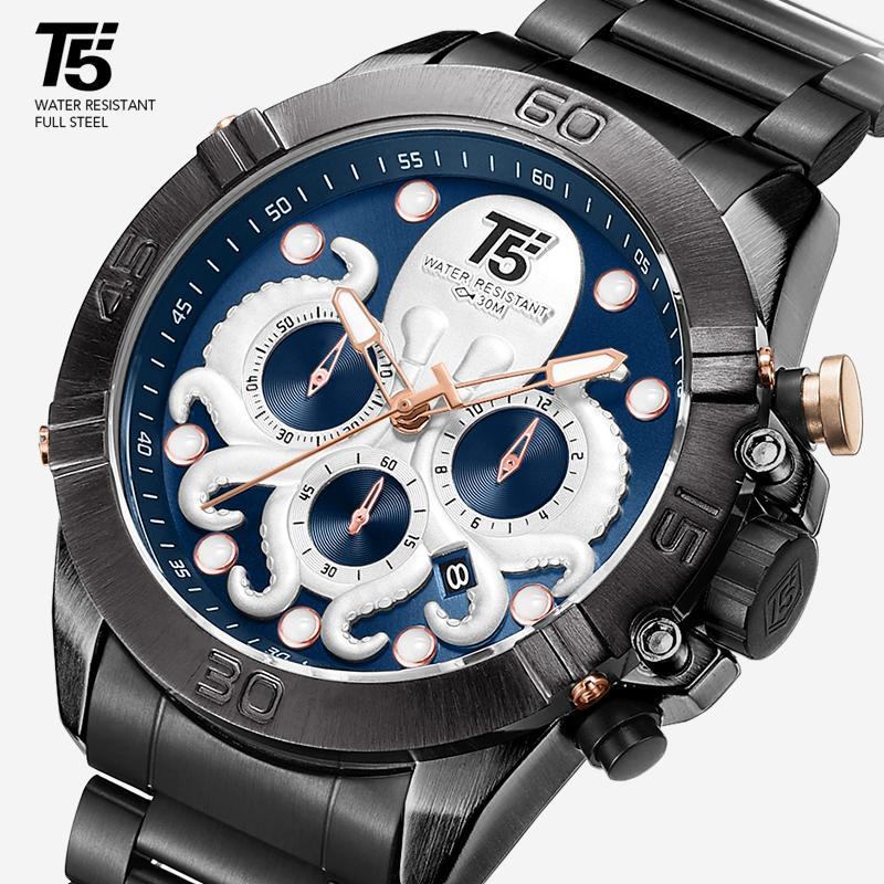 T5 - Orologio sportivo da uomo di lusso, timer di quarzo, impermeabile, rosa, oro e nero