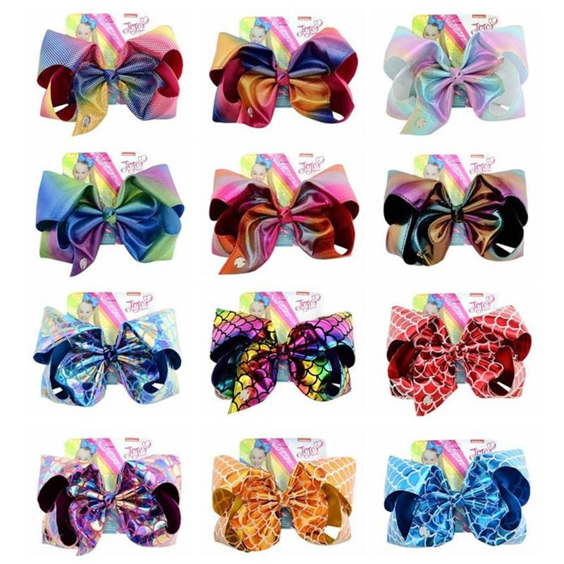 8 дюймов Siwa Hair Bow Laser Laser Bowknot Зажим для волос Baby Girls Boutique Hairpin Kids Barnettes Hairclip с картонными аксессуарами для волос
