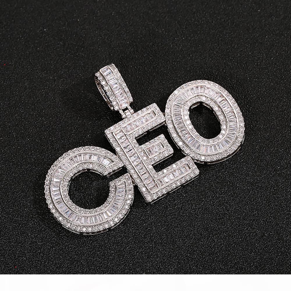 Kundenspezifischer Name Baguettes Buchstaben Anhänger mit Freien Seilkette Gold Silber Bling Zirkonia Herren Hip Hop Anhänger Schmuck