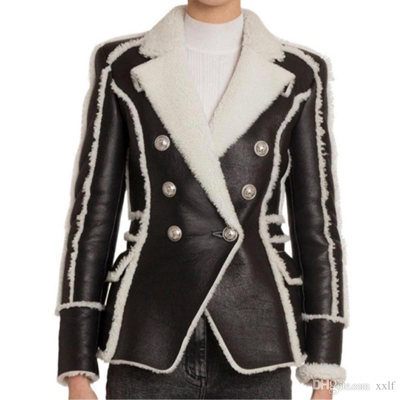 High Street 2020 stilvolle Designerjacke frauen doppelt breasted lion buttons Faux Pelz Leder Blazer Mantel
