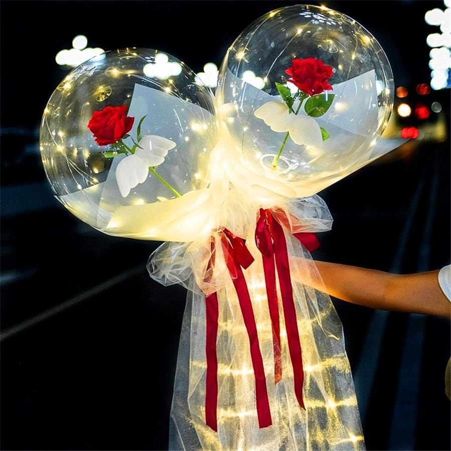 Led luminoso palloncino rosa bouquet trasparente bobo palla rosa rosa San Valentino regalo regalo festa di compleanno decorazione di nozze palloncini ewe2937
