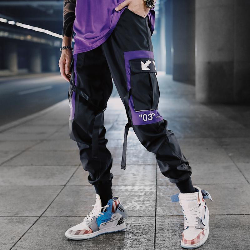 Hip Hop Rubans Cargo Pantalons Hommes Joggings Streetwear Hommes 2020 Mode Hommes taille élastique Pantalon Rubans coton noir W117 X1116