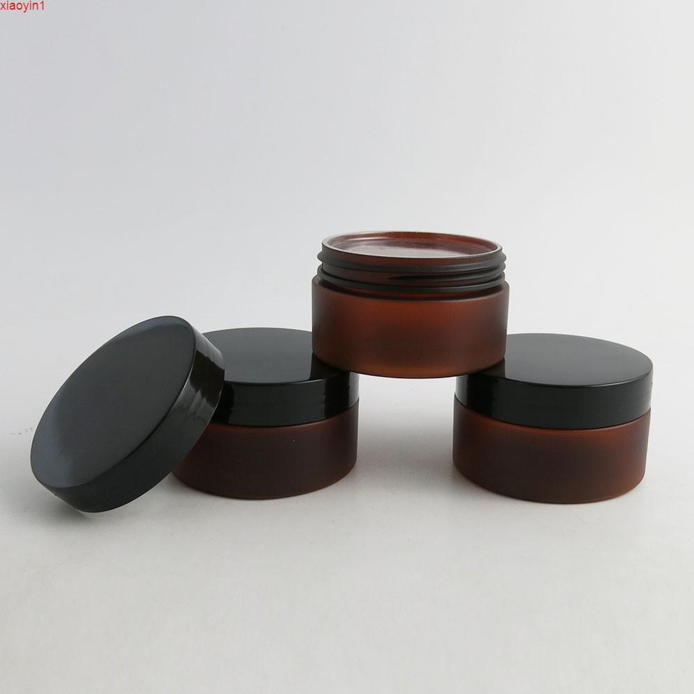 24x 100g DIY Mini Taşınabilir Amber Kavanoz Pot Kutusu Makyaj Nail Art Kozmetik Krem 100cc 100 ml Siyah Cap Konteyner Plastik Kavanoz Kaliteli