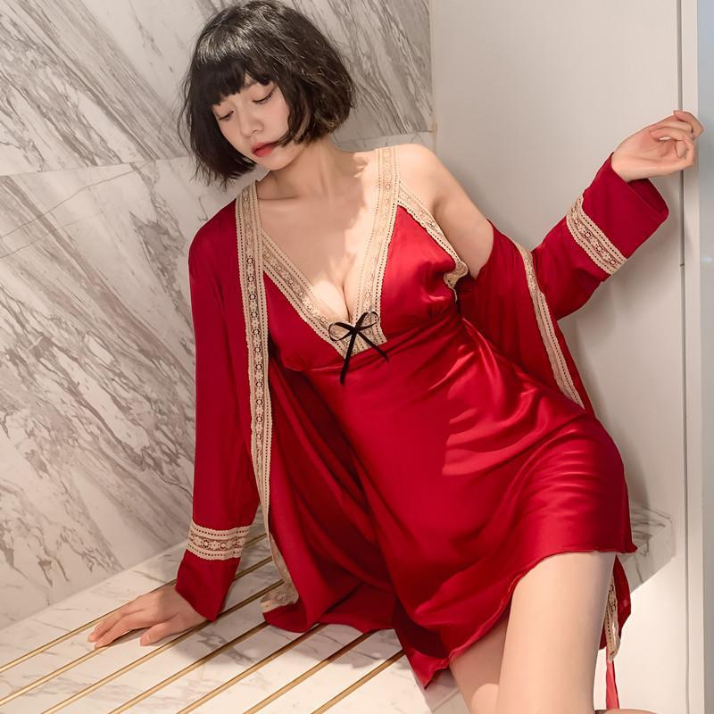 Damen Nachtwäsche Kollektion Frauen Lace Hosenträger Nachthemd Seiden Satin Sexy Nachthemd Anzüge 2 stücke Sommer dünne verführerische reine robe Set el