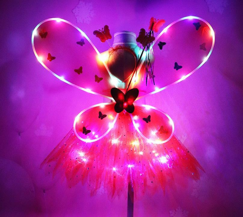 Kız LED Kelebek Kanatları Set WithTutu Etek Peri Değnek Bandı Peri Prenses Işık Up Parti Karnaval Kostüm Sahne SN2213