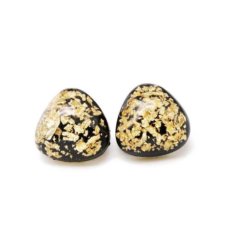 Envío nuevo lindo triángulo dulce resina oro brillo elegante ligero peso ligero Pendiente para las mujeres Dkful