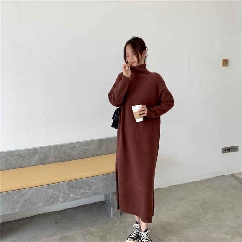 Vestido coreano de una pieza Nuevo otoño invierno mujeres suelta vestido de punto suéter sólido manga larga suave vestidos casuales vestidos