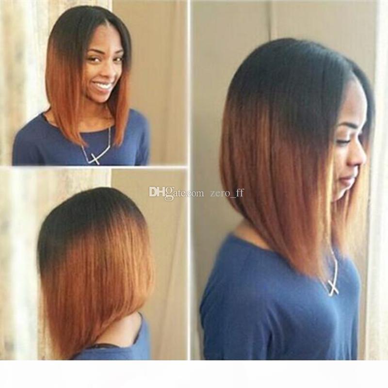 Кружева передние человеческие парики для волос для черных женщин T1B 30 предварительно сорванные бразильские ременные волосы ombre прямые короткие боба парики с волосами ребенка