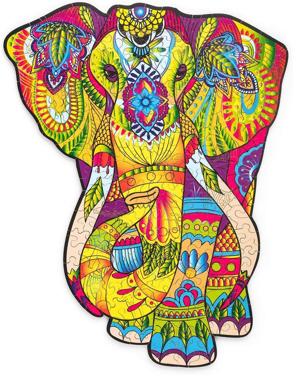 Деревянный трюк великолепный слон деревянная головоломка для взрослых и детей - животные уникальные в форме головоломки головоломки - премиум качества