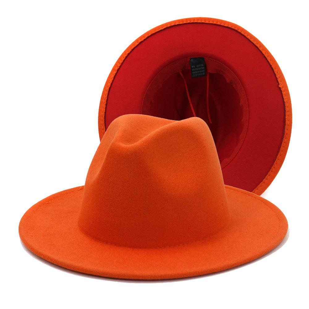 Nuevo Patchwork Top Sombrero de jazz Nuevo estilo Two Tone Caps Unisex Algodón Poliéster de ancho Ancho de lana de gran tamaño Fieltro Fieltro Fedora Sombreros