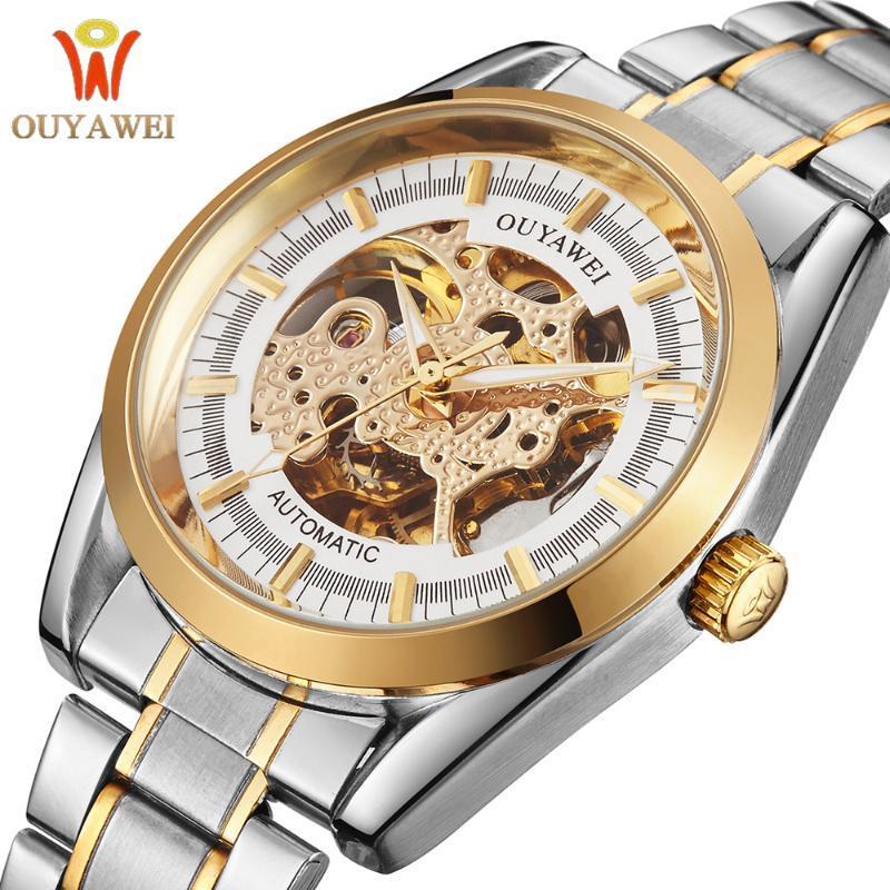 Ouyawei Automatische männliche Armbanduhr Luxus Goldene Fall Edelstahl Band Relogio Masculino Mechanische Skelettuhr Männer Uhr