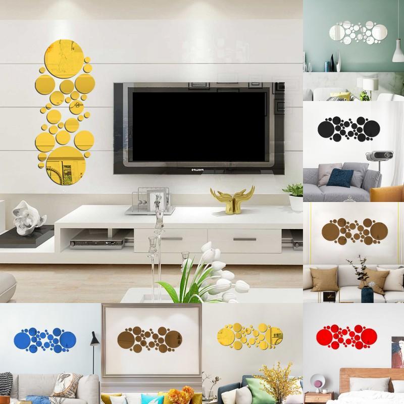 Acrilico Home Decor Wall Stick Portico Soggiorno Soggiorno Specchio Adesivi Big Small Circle Camera da letto Piastrelle Decalcomania Corridoio Art Decorate 4 6hy G2