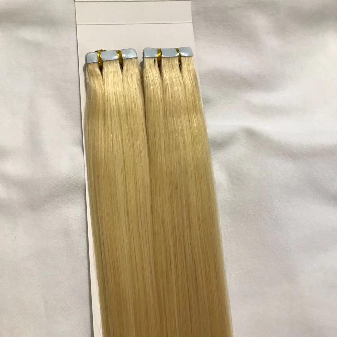 "Partihandel 10a -20 ""100% Remy Human PU Tape Skin Hair Extensions 2.5g / st 80pcs100g / Set # 613 Ljus Blondin DHL Gratis"