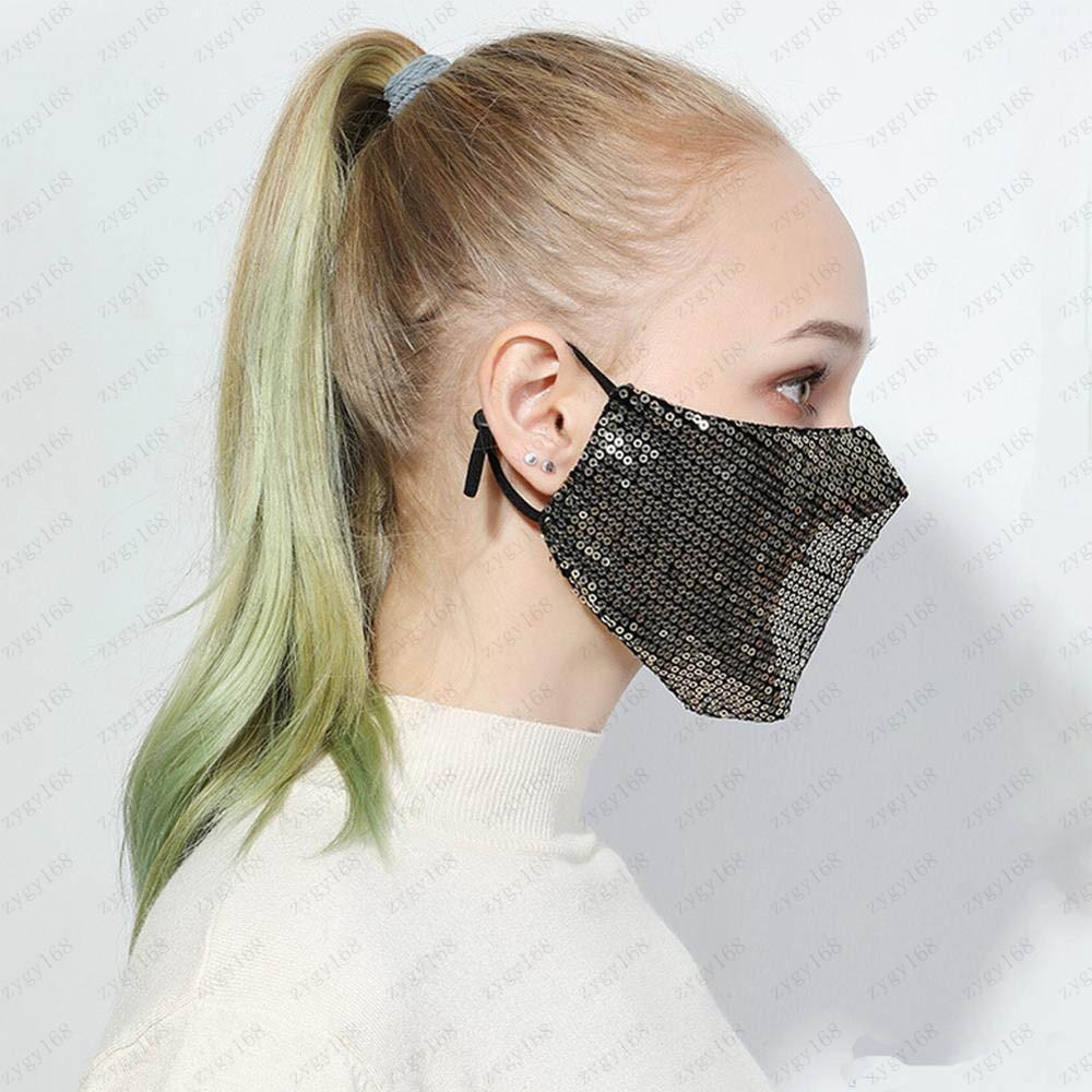 Collapsible Breathing Mouth Masks Sequin Safe Respirator Anti Dust Breathable Fa Mask Multi Color Fashion Design Free Shipping