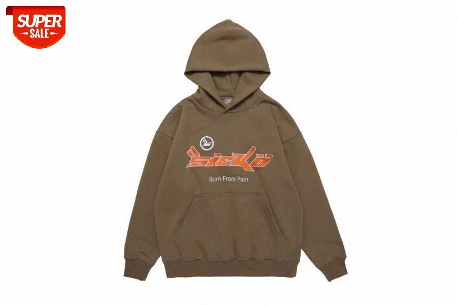 Basit En Kaliteli Pamuk Logosu Nakış Sicko Hoodie Erkek Kadın Sonbahar Kış Yüksek Kalite Hip-Hop Rahat Kapüşonlu Tişörtü # ho8v