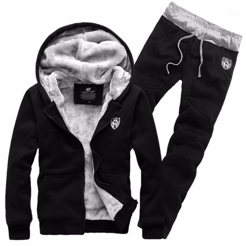 Marka Moda Kalın Kadife Spor Takım Elbise Erkekler Sıcak Kapüşonlu Eşofman Parça Hoodie Ter Suits Set Fermuar Siyah Tişörtü1