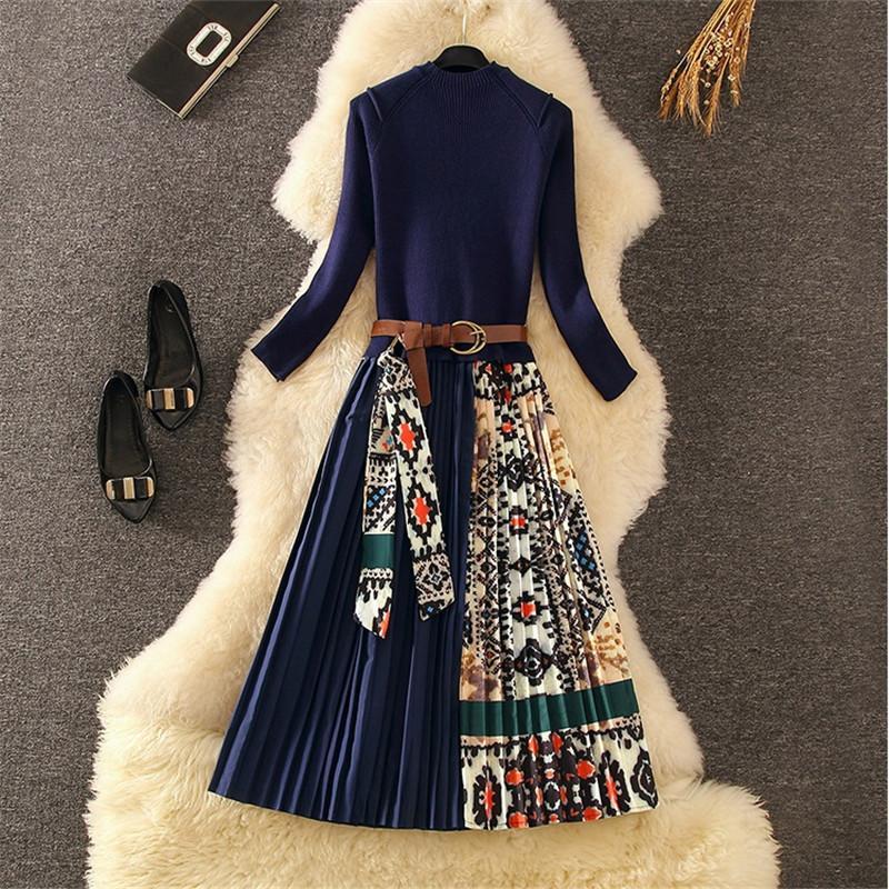 레트로 프린트 Pleated 드레스 여성 우아한 니트 패치 워크 긴 미디 드레스 가을 겨울 긴 소매 빈티지 벨트 새시 A100 F1215