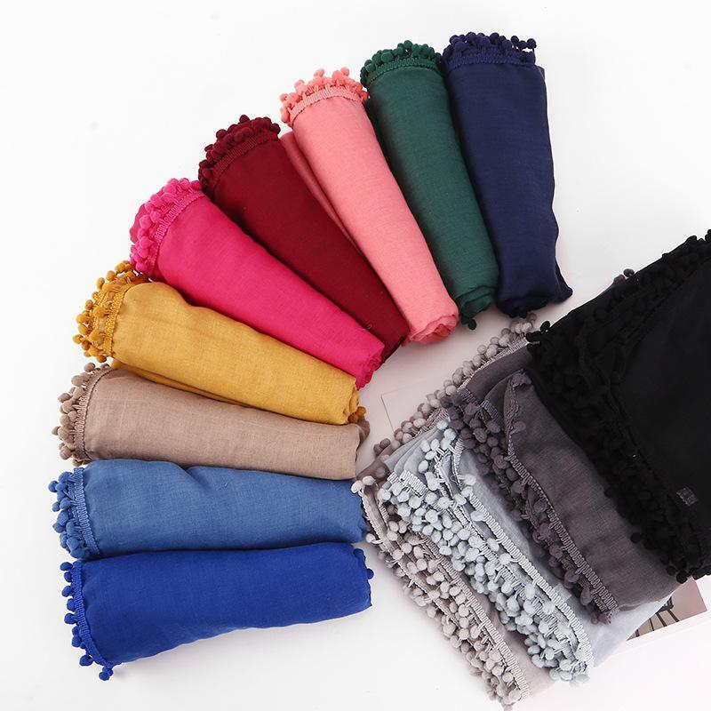 80 * 180 см Роскошные хлопковые твердые волосы мяч обертки головы шарф исламская одежда мусульманские женщины мгновенные хиджаб Формушки Femme Turban