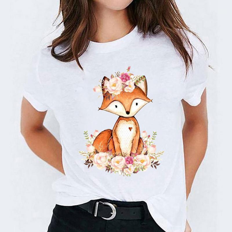 Camisa gráfica camiseta para mulheres desenhos animados florais Moda doce impressão senhora t - shirts top womens senhoras t-shirt t-shirt1