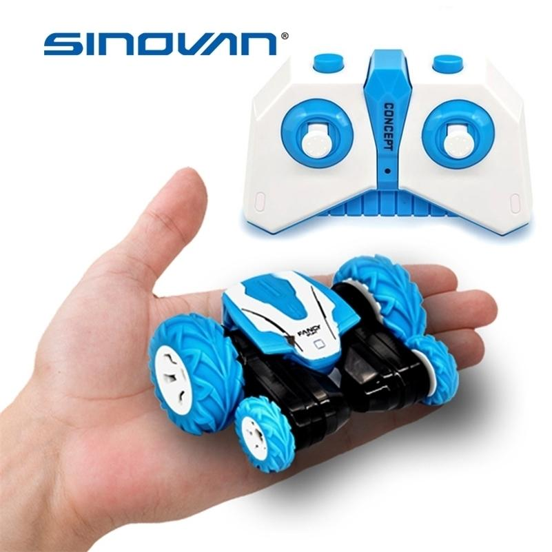 Sinovan Mini RC Car 2.4G 4CH Торговый дрейф Деформация Bucgy Rock Crawler Roll Car 360 градусов Flip Car Blue Toys для детей 201218