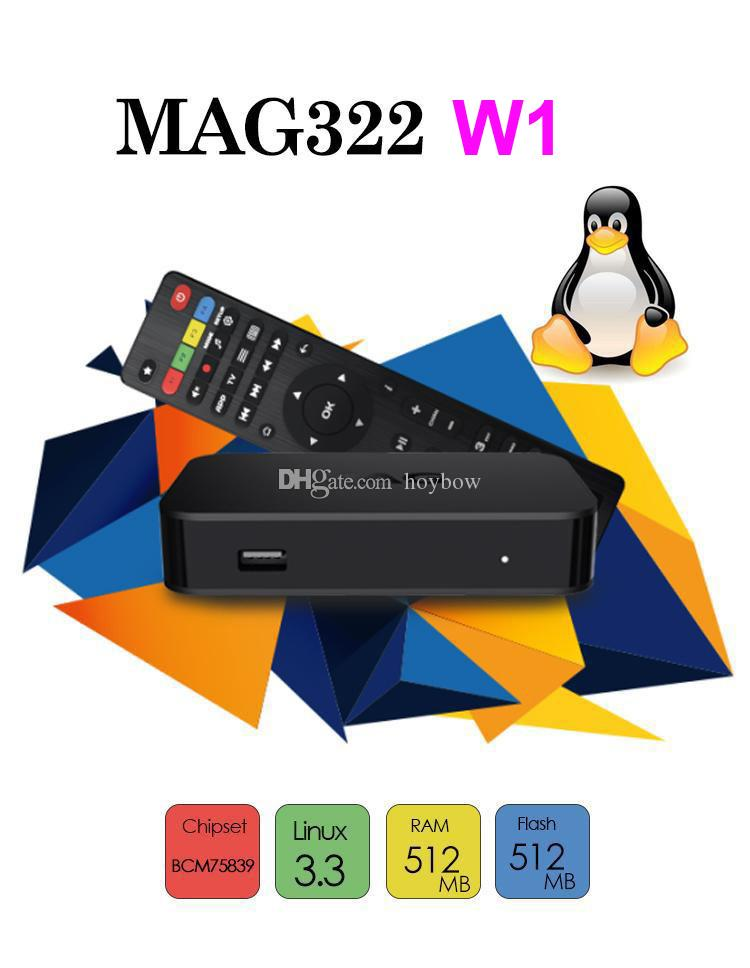 Atacado MAG 322W1 Build in WiFi Último Linux 3.3 Set-top Box Mag322 / W1 HEVC H.265 Box Smart Media Player Mag322W1
