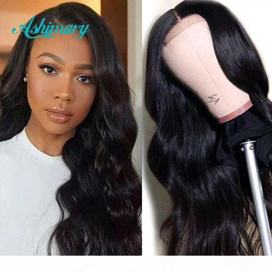 Ascimary 4x4 кружева закрывающие парики человеческие волосы бразильские волна тела кружевные парики для чернокожих женщин предварительно сорванные с младенцем волос 180 плотность