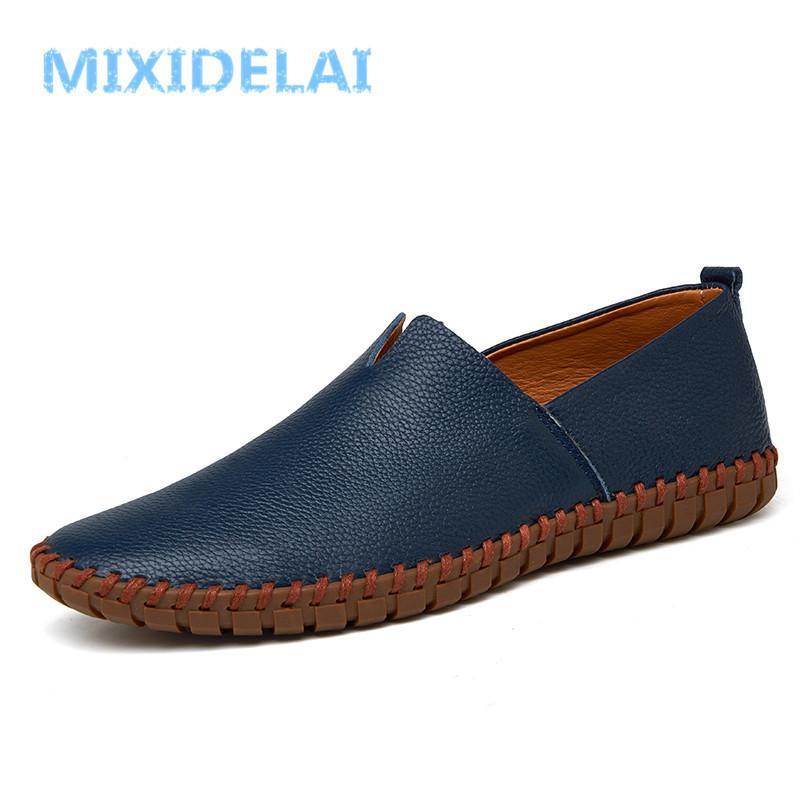 Mixidelai Echtes Kuhleder Herren Müßiggänger Mode Handgemachte Mokassins Weiche Leder Blaue Slip auf Herrenbootschuh Plus Größe 38 ~ 48 201212