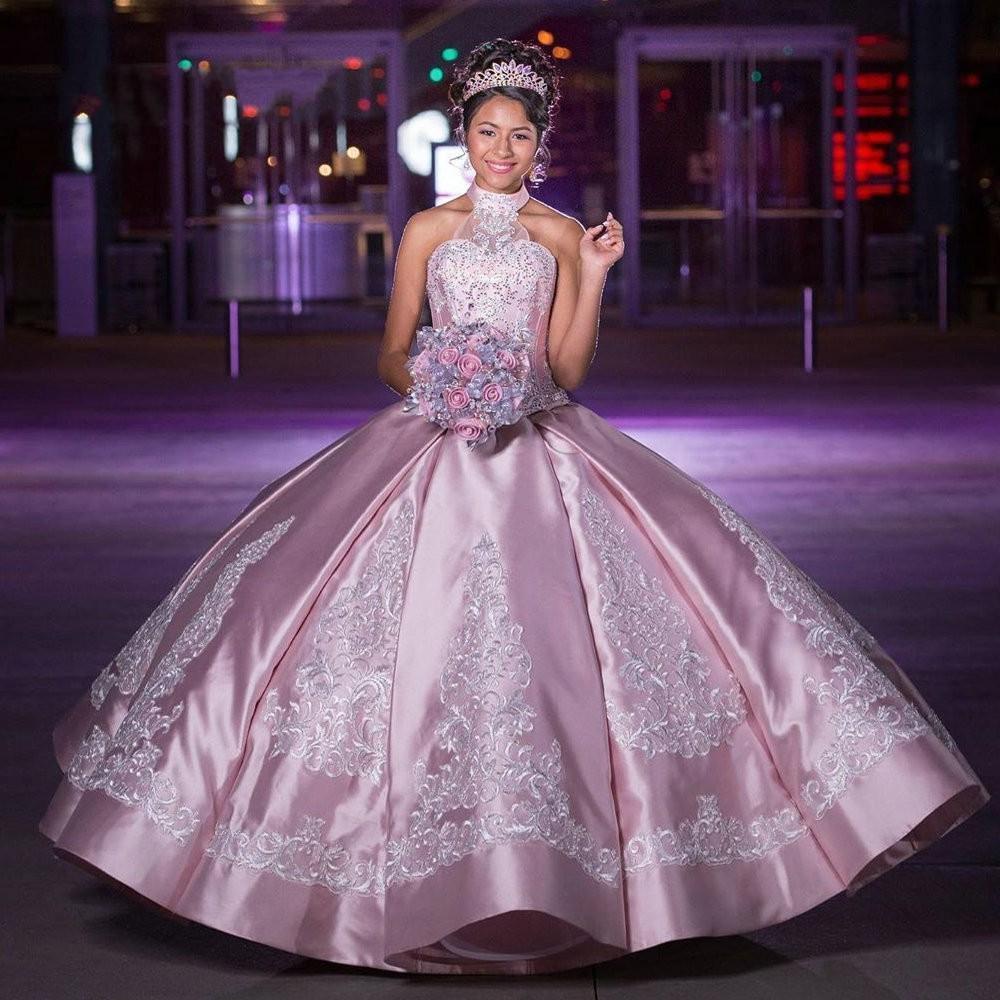 Высокие шеи Quinceanera платья розовые сатинированные слоновой кости вышитые шарики открыть заднюю повязку шарикового платья принцессы выпускное платье для выпускного вечера Sweet 16 платье