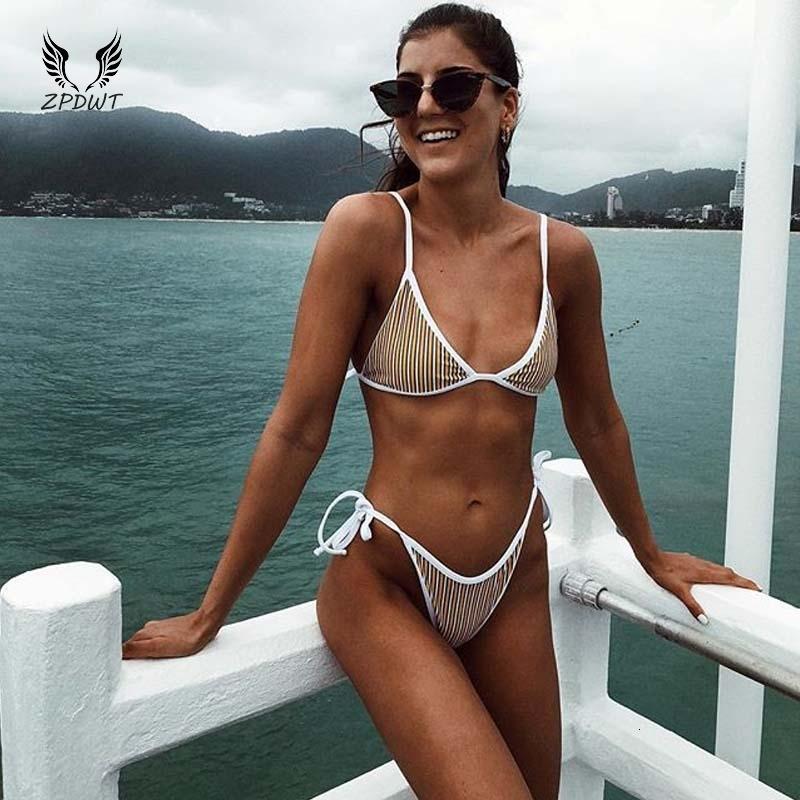 Triangolo Swimwear donne mini micro costume da bagno semplice Bikini a strisce gialla del costume da bagno maillot de bain Femme