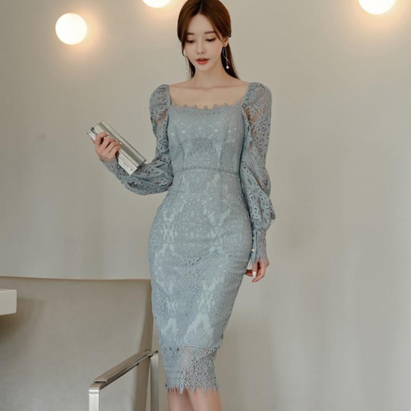Vintage Corea aderente Vestiti sexy al ginocchio abiti autunno pizzo semplice elegante collare Office Square partito dei vestiti matita