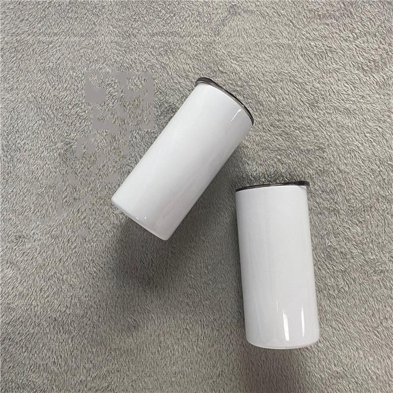 15 oz Süblimasyon Düz Bardak Mühür Kapak Boş Paslanmaz Çelik Sıska Tumblers DIY Beyaz Kahve Kupa
