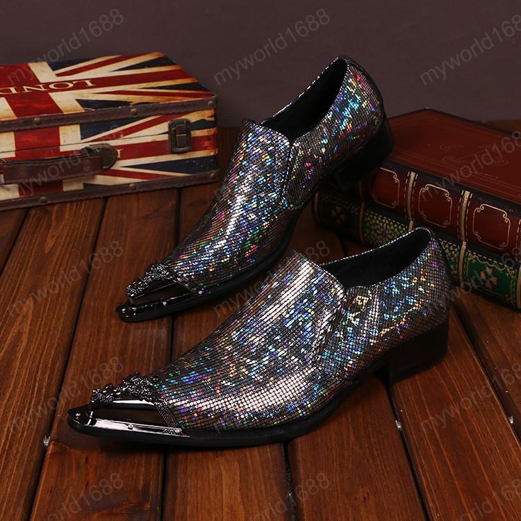 Персонализированные моды заостренные ночные клубы мужские туфли многоцветные блестки подлинной кожи мужская вечеринка