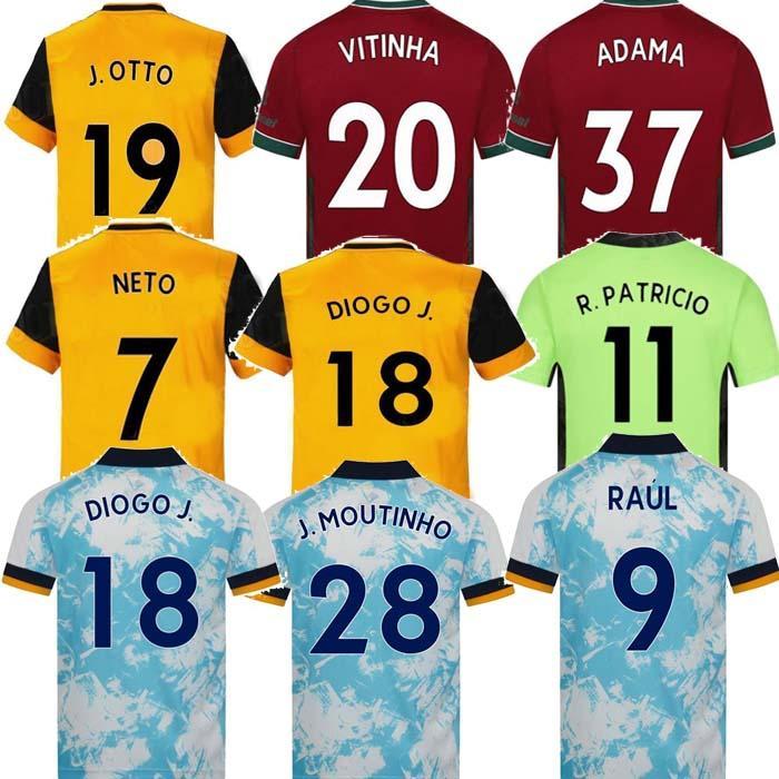 2021 Lobos Jersey Jersey Neves Raul 2020 2021 Adama Fábio Silva Podência Neves Camisa de futebol Otto Camisa de futebol Homens + Kids Kit uniformes