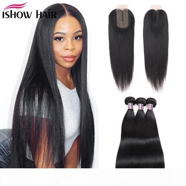 Ishow Human Cheveux Bundles avec fermeture Straight Virgin Hair Extensions 3 4pcs avec fermeture de dentelle 2x3 droite