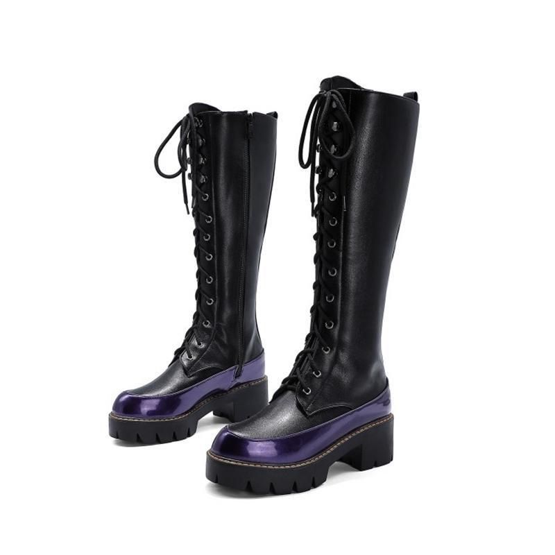 Mode Winter Kampfstiefel Frauen Schuhe Knie High Heels 5 cm Runde TOE-Plattform Elastische Schnürung Botas Mujer Lange Schneestiefel 991