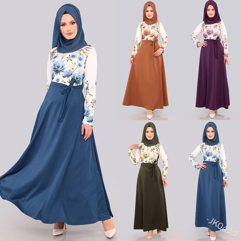 Wepbel Femmes Robe Musulmane Floral Imprimé Plus Taille Taille Abaya Bow manches longues Robe Arabe Dubaï High Taille High Taille Maxi Dress F1130