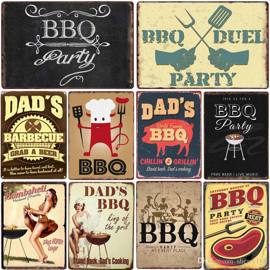 2021 Signe métallique BBQ Poster mural 20x30cm BBQ Party Vintage Dads Métal Tin Tin Plaque Rétro Peinture de fer Décor mur de Pub Cafe Garage Dector