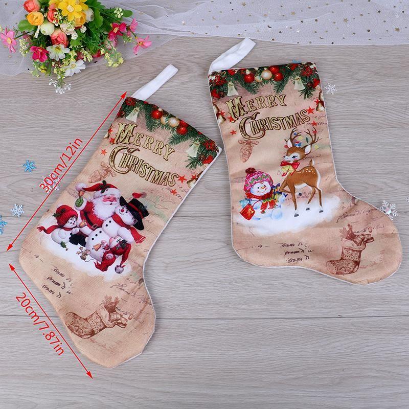 1 шт. 2020 Новогодние рождественские чулки ткань маленькие сапоги подарочные сумки украшения вечеринка дома украшения