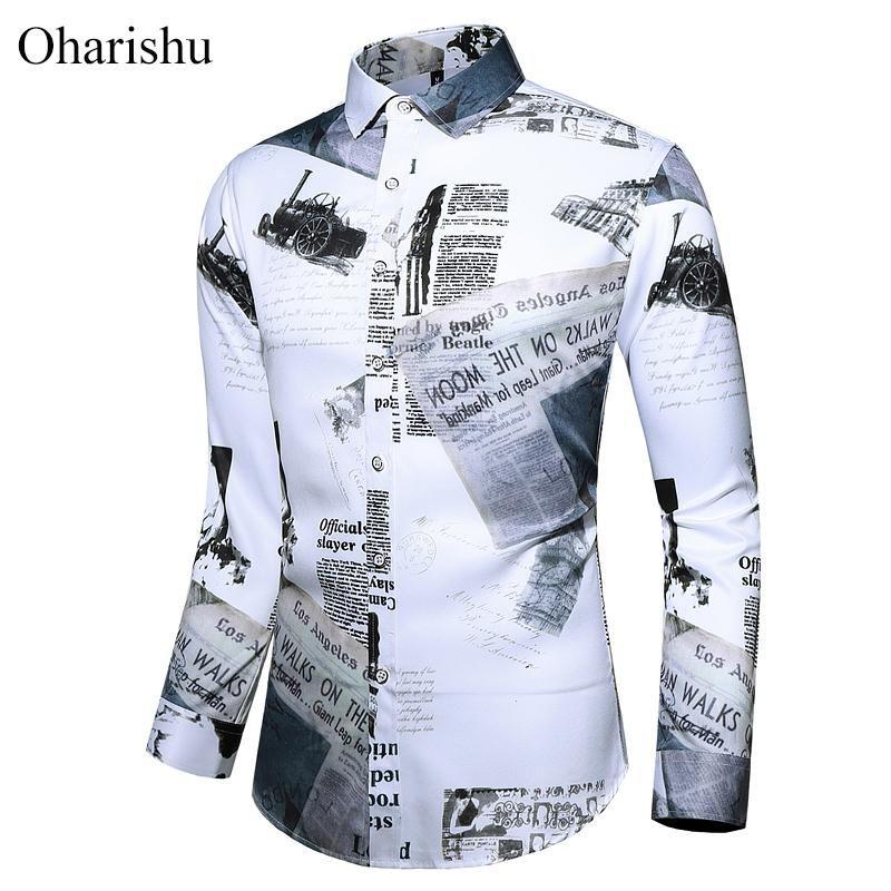 Camicie stampate personalità autunno Camicia di marca di moda per uomo a bottone lungo manica lunga casual camicia floreale da uomo vestiti 5xl 6xl 7xl