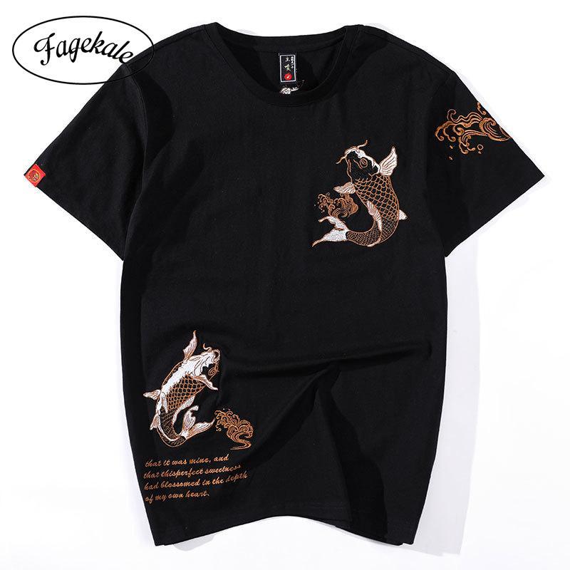 2020 летний новый прилив бренд вышитая с короткими рукавами футболка мужской карп этнический стиль свободно большой размер хлопчатобумажная рубашка C0119