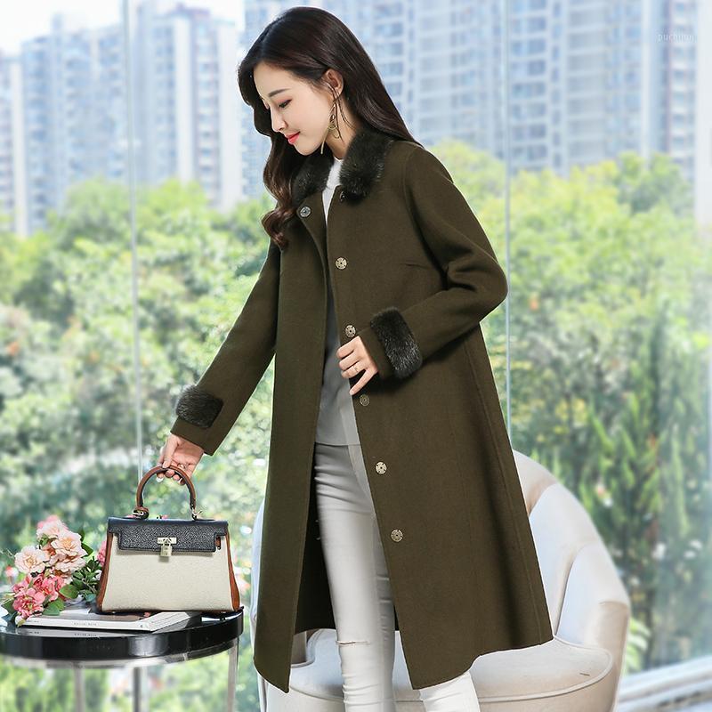 Wollmantel Frauen Solide Woolen Single Breasted Lange Elegante Frauen Kleidung 2020 Neuer Pelzkragen Langarm Sweet Wollmantel1