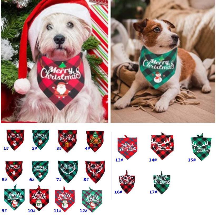 Bandanas عيد الميلاد للكلاب منقوشة pet باندانا ل s m l الكلاب الحيوانات الأليفة وشاح الكلب مثلث المرايل الناقد سانتا ثلج طباعة pet باندانا HH9-3575