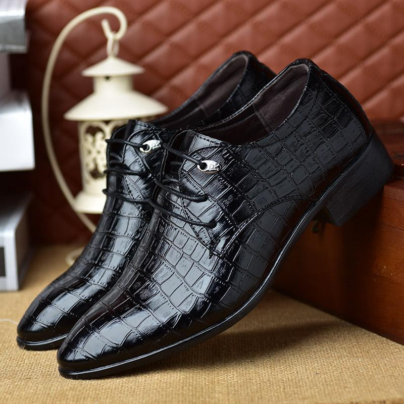 MAZEFENG 2020 Fashion Primavera Autunno Dress Shoes Shoes Men Business Leather Shoes Plaid Pointed Toe Maschio Lace-Up Confortevole