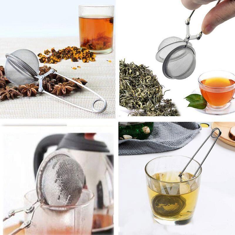 Чайный инфузер 304 из нержавеющей стали сфера сетки сетчатой чайной чайной чайной чайный фильтр фильтр диффузор ручка чайное мяч высокое качество